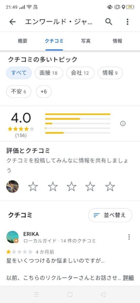 エンワールドジャパンの口コミ
